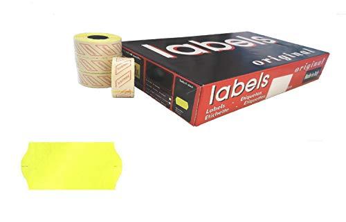 48.600 etiquetas fluorescentes amarillas bordes ondulados