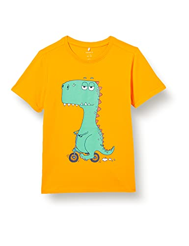 NAME IT Jungen NKMBUGOS SS TOP T-Shirt, Flame Orange, 122-128