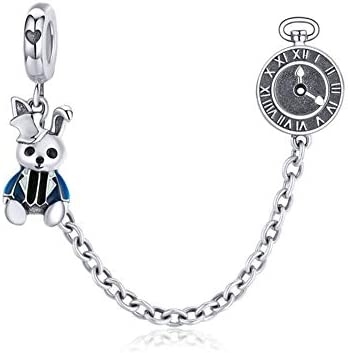 LAMOONY Safety Chain Charm 925 Sterling Silver Stopper Charm Clip Charm Lock Charm for Pandora product image