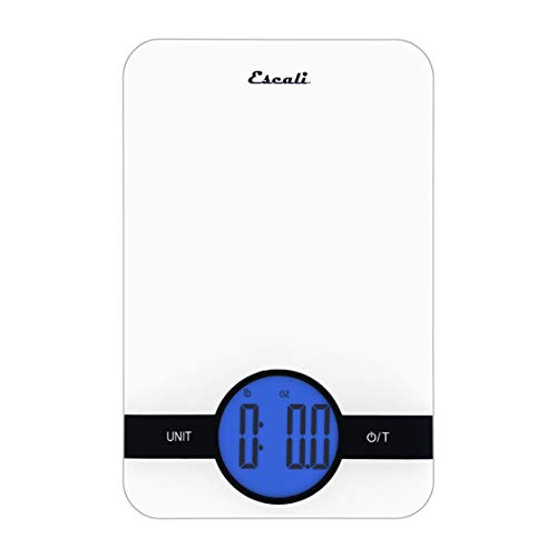 Escali Ciro C115W Blue Backlit Digital Display Table Top Scale, Tare Functionality, Liquid and Dry Measurements, Office, Kitchen, 11lb Capacity, White