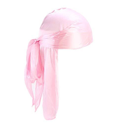 Fxhixiy Men Women Durag Extra Long-Tail Headwraps Silky Satin Pirate Cap Bandana Hat for 360 Waves (Pink)