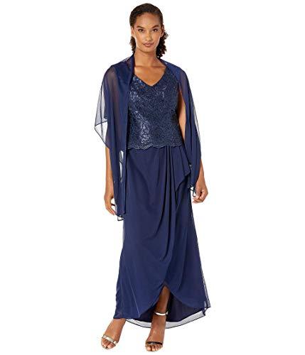 Alex Evenings Women's Long Sleeveless A-Line Dress (Petite and Regular), Embroidered Navy, 16 (Apparel)