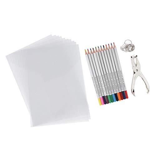 chiwanji Wärmeschrumpfende Plastikfolie Kit Shrink Art Film Paper Kit Enthalten Wärmeschrumpfende Folien, Buntstifte, Locher, Schlüsselanhänger Für DIY Handmad