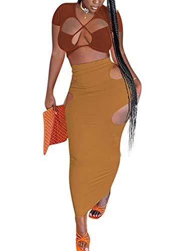 Sexy traje de dos piezas para mujer Bodycon Crop Tops y falda elástica con agujeros laterales Club Streetwear largo vestido maxi