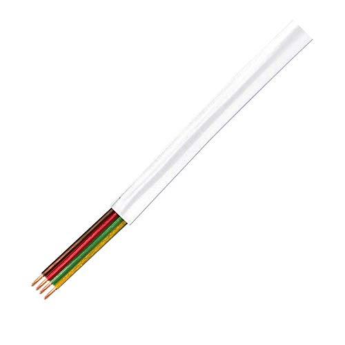 VS-ELECTRONIC - 685104 Telefonkabel, 4-adrig, Flach, 100 m Länge, Weiß CM04W