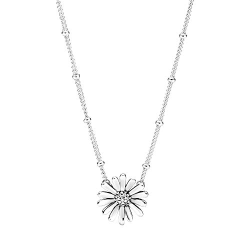 Pandora Jewelry Daisy Collier Cubic Zirconia Necklace in Sterling Silver, 17.7'