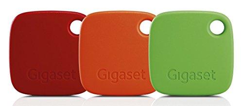 Gigaset G-tag Beacon im Set mit Appfunktion - Bluetooth Schlüsselfinder zum einfachen Auffinden von Schlüssel, Taschen, Koffern, Handys - Key Tracker – 3 Stück rot, orange, grün