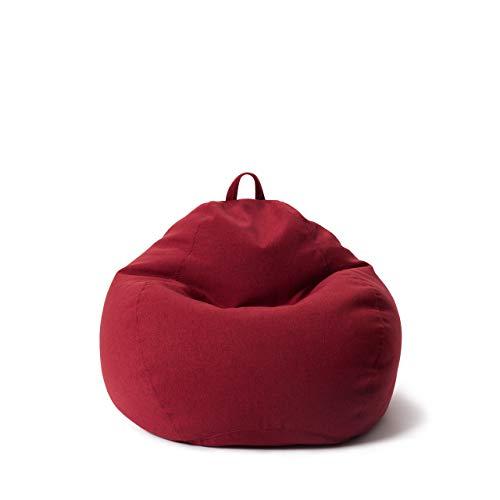 Lumaland Comfort Line Sitzsack M Indoor - 70x80x50 cm - Bodenkissen, Bean Bag Chair - 120 L - EPS Perlen Füllung - Home Feeling - Rot