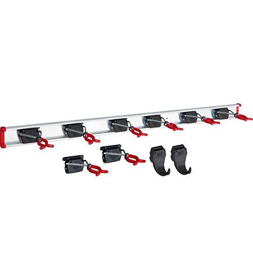 Bruns Gerätehalter Schiene 100 cm mit 8 Haltern + 2 Haken extra für Garten Geräte Werkstatt Besen