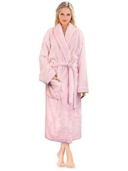 PAVILIA Premium Womens Plush Soft Robe Fluffy Warm Fleece Sherpa Shaggy Bathrobe  S/M Light Pink