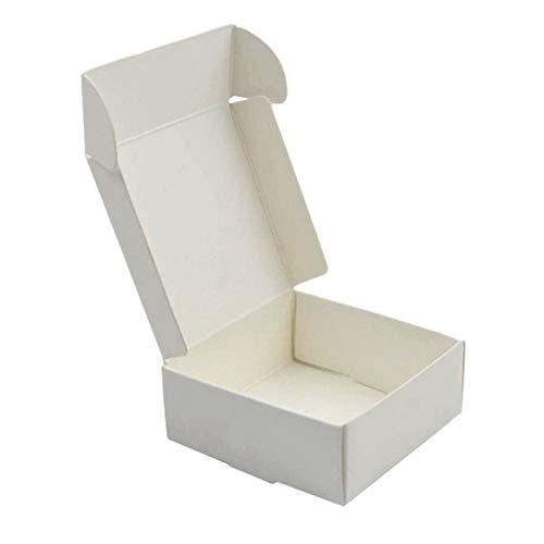 Haude 100 cajas de cartón de papel kraft hechas a mano, caja de regalo, caja de regalo, caja de regalo, color blanco: Amazon.es: Hogar