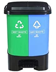Nilkamal Twin Color Dustbin for Home, Kitchen, Restaurant Blue and Green (20+20 LTR.)