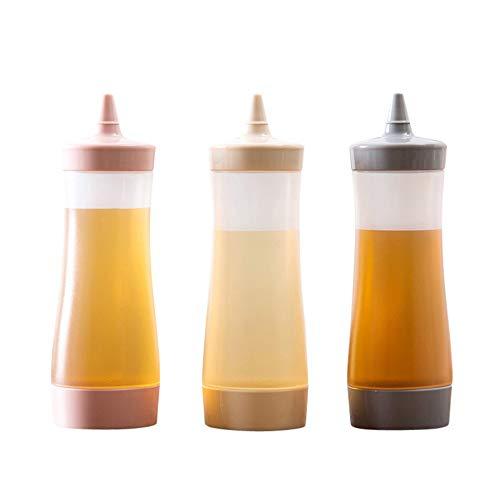 Forepin 3Stück Squeeze Sauce Flasche Spender Kunststoff Würze Container Condiment Dosierflaschen für Senf Ketchup-Öl Creme Honig und Salatdressing