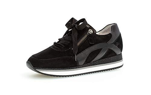 Gabor Damen Sneaker, Frauen Halbschuhe,lose Einlage,Best Fitting,Plateausohle,weiblich,Ladies,Women's,Woman,schnürschuhe,Lady,schwarz,37 EU / 4 UK