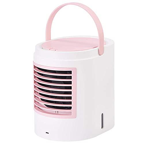 USB silencioso aire acondicionado oficina dormitorio mesita de noche coche camping carpa AOOF13 en 1 3 ventilador velocidad mango aire acondicionado, ventilador portátil de refrigeración agua (rosa)