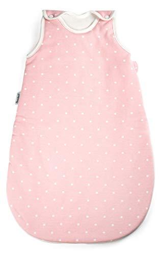 Ehrenkind® Babyschlafsack Rund | Bio-Baumwolle | Ganzjahres Schlafsack Baby Gr. 86/92 Farbe Rosa mit weißen Punkten