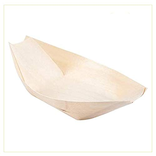 Palucart Barchette Bambu Finger Food 100 Coppette in Legno 17 x 8,5 cm Biodegradabili Compostabili per Aperitivo Snack Stuzzichini Barca Pagoda