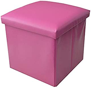 Puff Asiento Almacenaje Acolchado, de Color Rosa. Diseño Elegante/Práctico 38x38x38cm.-Hogarymas-