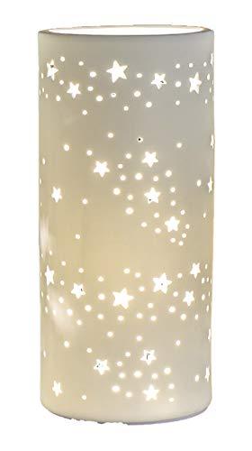 Formano - Porzellan-Lampe Stern - Winterliche Tischleuchte Nachttischlampe Nachttischleuchte Stimmungslampe Weiss 12x28cm