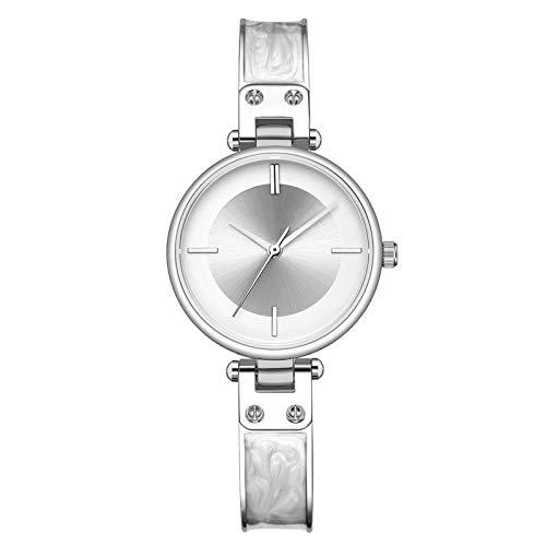QHG Reloj de Mujer Cinturón de Acero Moda Relojes Femeninos Superficie Starry Superficie Impermeable Malla de Malshwatches (Color : E)
