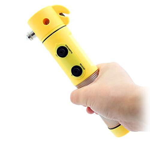 Q47CS 4 in 1 Werkzeug Auto KFZ Notfall Hammer Gurtschneider Taschenlampe Blicklicht, Notfallhammer Rettungswerkzeug