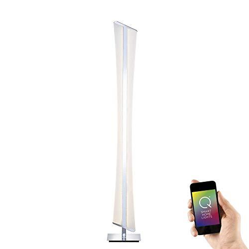 Paul Neuhaus 843-17 Q-RILLER LED-vloerlamp Smart-Home voor Alexa, incl. afstandsbediening, warm wit of RGBW kleurverandering, dimbaar