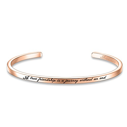 "Annamate Armband mit Gravur Damen Armreif, Inspirationaler Motivationstext ""A True Friendship is a Journey Without an end"" - Offener Manschette Boutique Armschmuck"