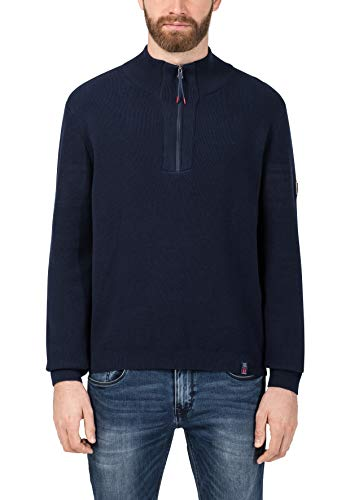 Timezone Herren Waffle Knit Troyer Pullover, Blau (total Eclipse 3393), Large (Herstellergröße: L)