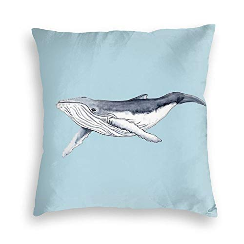 Ryuji Humpback Whale Baby Velvet Throw Pillow Cover Cozy Square Throw Pillow Case Home Decorative for Bed Couch Sofa Living Room Cushion Cover 18'X18'