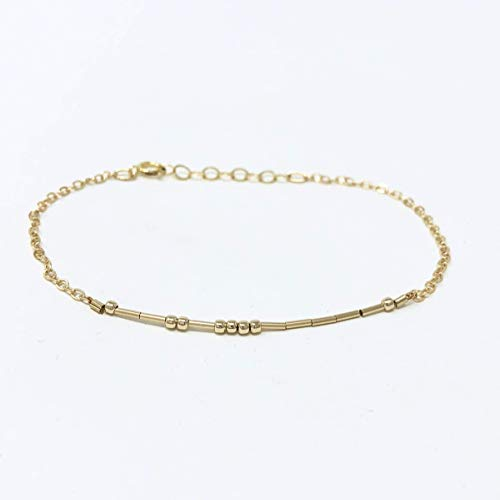 CUSTOM Morse Code Gold Fill Bracelet also available in Sterling Silver