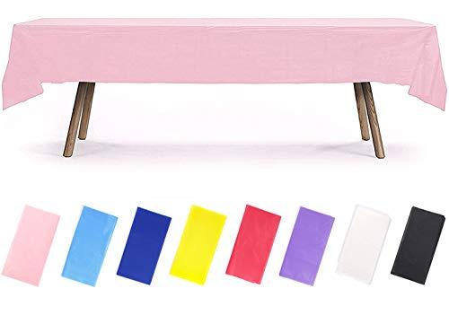 PartyWoo Tischdecke Rosa, 137 x 274 cm/ 54 x 108 Zoll Rechteckige Tischdecke Abwaschbar für 6 bis 8 Fuß Tisch, Tischtuch, Table Cloth, Wasserdichte Tischdecke für Party, Geburtstag, Hochzeit (1 STÜCK)