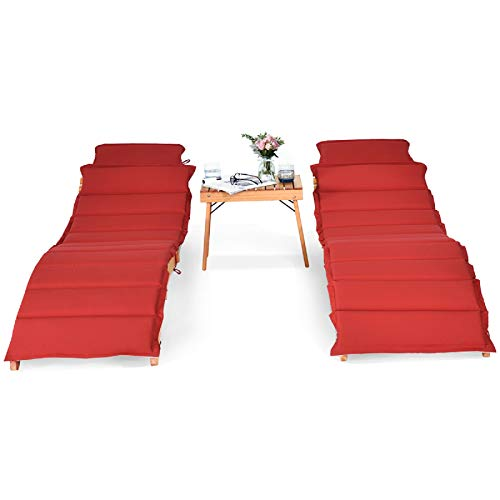 Tangkula 3 Pcs Folding Patio Solid Wood Lounge Chair Set, Outdoor Lounger Chair w/Foldable Side Table, Double-Sided Cushion Lounger Chairs Set for Garden Lawn Backyard(Red & White)