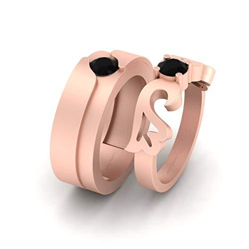Anillo de compromiso a juego de diamantes negros de 0,75 quilates para él y su pareja de oro rosa Fn de plata de ley 925