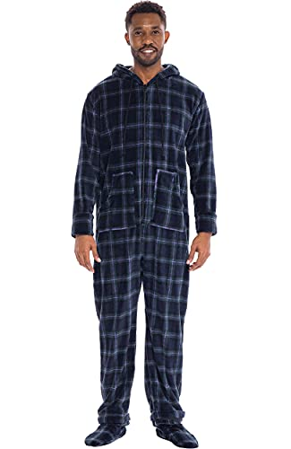 Alexander Del Rossa Men's Warm Fleece One Piece Non-Footed or Footed Pajamas, Adult Onesie with Hood and Two Large Front Pockets, Blue and Green Plaid Footed, 3X