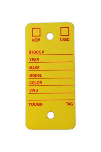 Poly Key Tag, Car Key Tag, 500 per Box, with Rings and Pens Tough (Survivor) (Yellow) Photo #2