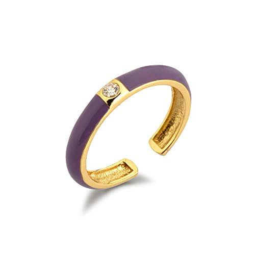 100% 925 esmalte de plata anillo rosa púrpura joyería de moda una joyería de circonita Rock Punk joyas blancas-esmalte púrpura
