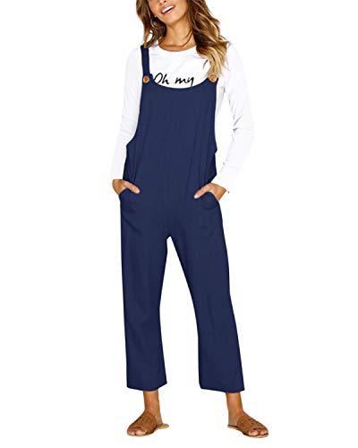 CNFIO Pantalones Mujer Casual Ajustable Correa Monos Rompers Flojo Retro Harem Mamelucos Jumpsuits Overalls con Bolsillo