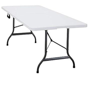 Deuba   Table de Camping ? 240 cm ? Pliable ? Plastique résistant Blanc   Table de Jardin, terrasse