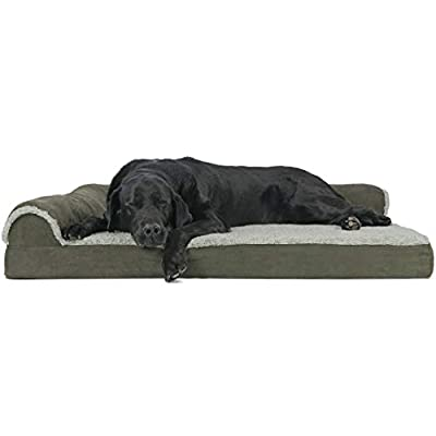 Furhaven Pet Dog Bed - Deluxe Orthopedic Two-Tone Plush and Suede L Shaped Chaise Lounge Living Room Corner Couch Pet Bed with Removable Cover for Dogs and Cats, Dark Sage, Jumbo