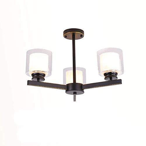 HTL Lámpara Moderna de 3 Luces E27 Edison Bullb Pendiente Light G4 Colgante Luz Mate Mate Negro Techo Luz de Vidrio Sombra Foyer Lámpara Lámpara Iluminación Fijo B 3-Luces,B