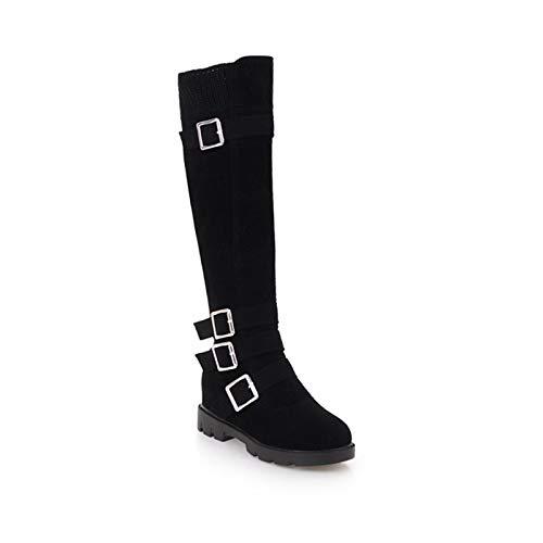 Womens Knee Hoge Laarzen Suède Riem Gesp Lage Hak Flat Mid Calf Long Boots Winter Bont Bekleed Warme Snowboots Riding Boots,Black,43 EU