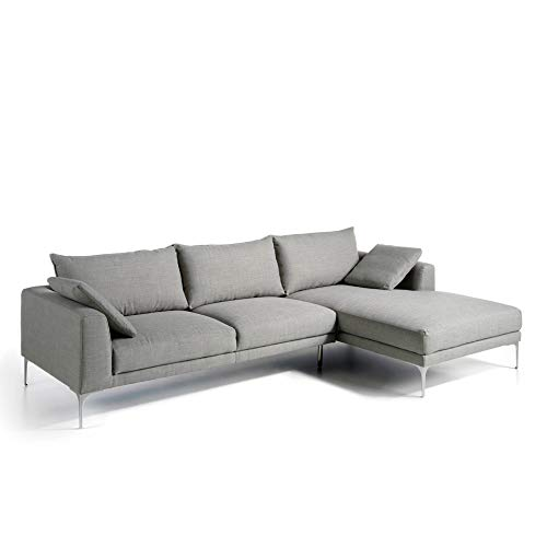 Angel Cerdá   Sofá chaiselongue tapizado en Tela, Patas Acero Cromado Macizo, con Dos Cojines Incluidos pequeños, Estilo Moderno