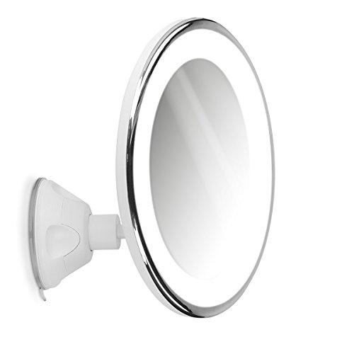 Navaris Vergrößerungsspiegel mit LED Beleuchtung Saugnapf - Spiegel mit 10fach Vergrößerung 360° schwenkbar - Badspiegel Makeup Kosmetikspiegel