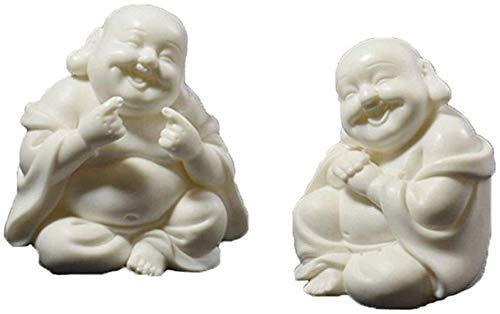 XLAHD Estatuas C Coleccionables Lucky Laughing Buddha Maitreya Estatua de cerámica Creativa Escritorio Coche Perfume Decoración Adornos de cerámica Sala de Estar Hogar 1130 (Color: AB)