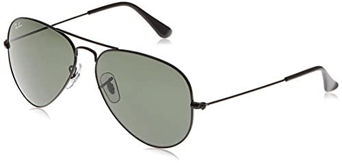 Ray-Ban RB3025 Classic Aviator Sunglasses, Black/Green, 58 mm
