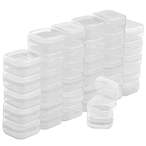 BELLE VOUS Cajas Plastico Pequeñas Transparentes con Tapa de Bisagra (Pack de 36) 3,5 x 3,5 x 2 cm - Caja Organizadora Plastico – Mini Recipientes Pastillas, Cuentas, Joyas, Artículos Manualidades
