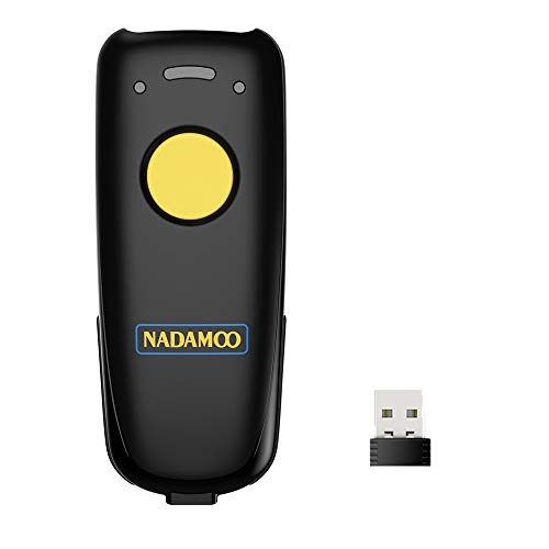 NADAMOO QR Code Scanner Wireless Barcode Scanner Bluetooth Compatible, Small Portable USB 1D 2D Bar Code Scanner for Inventory, 2.4G Cordless Image Reader for Tablet iPhone iPad Android iOS PC POS