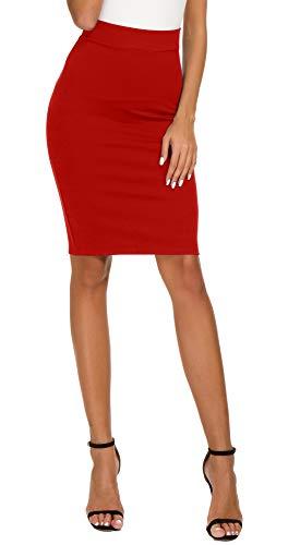 Women's High Waist Bodycon Midi Pencil Skirt (S, Red)