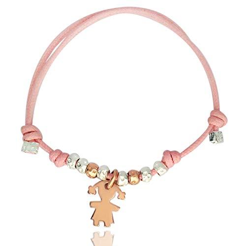 ViMon Gioielli, BRACCIALE cordino con ciondolo a forma di BAMBINA rosato, granelli martellati, in ARGENTO 925, cordino disponibile in vari colori