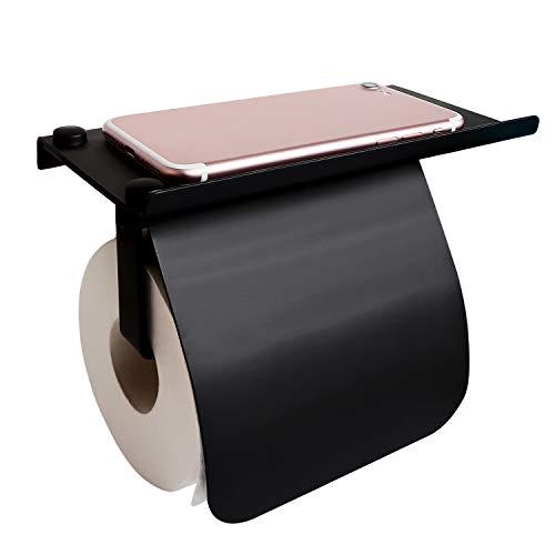 Toilettenpapierhalter - Klopapierhalter mit Ablage SUS304 Edelstahl Rollenhalter für Küche und Badzimmer Ohne Bohren Papierhalter, Selbstklebend oder Wandmontage, Noir (Schwarz)